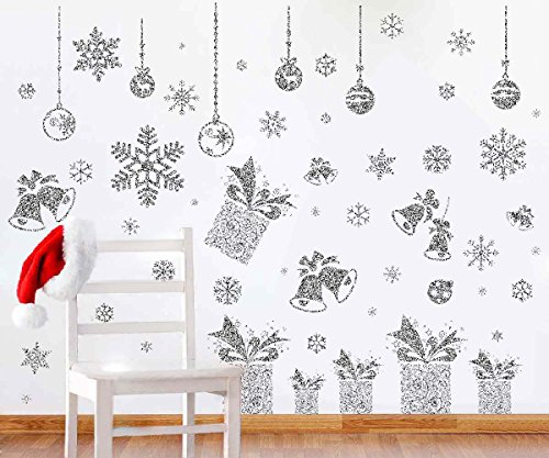 Joiedomi 80 Pcs Glitter Snowflakes Window Wall Peel & Stick Decals Holiday Winter Christmas Home Decorations Snow White Stickers (Also including Jingle Bell, Gift Box , Ornaments Designs)