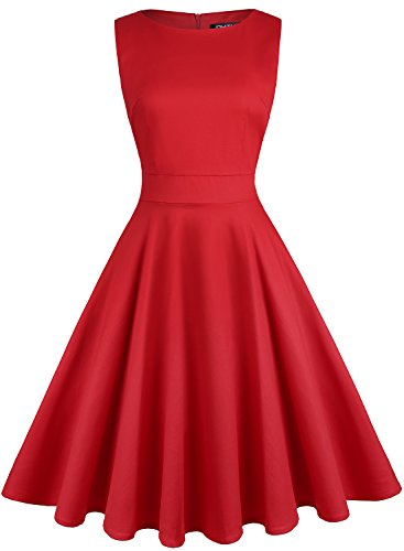 OWIN Women's Vintage 1950's Floral Spring Garden Party Dress Party Cocktail Dress (XL, Red)