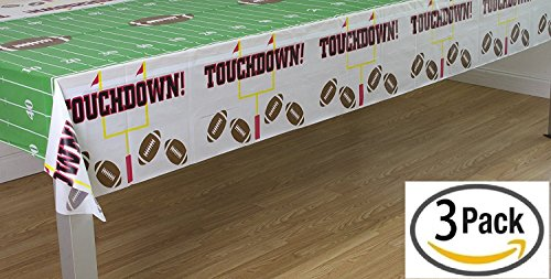 "Pack of 3 Game Day Football Touchdown Tablecover 54""x108"" by Oojami"