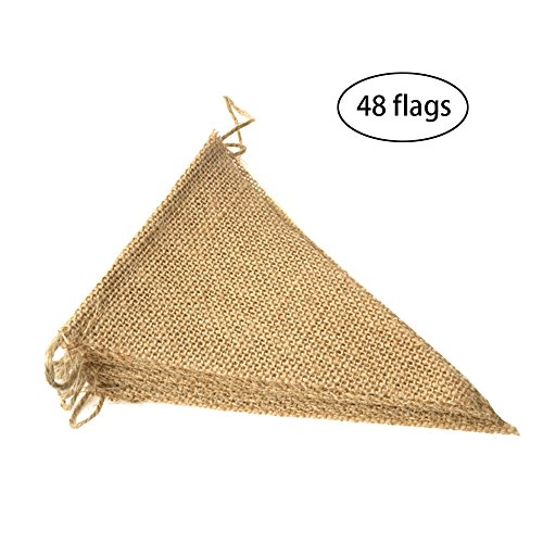 Purture 48 Pcs Burlap Banner, 36 Ft Triangle Flag ,DIY Decoration for Holidays, Wedding, Camping, Party and Any Occasion Shipping by FBA