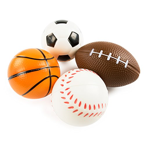 Sports Themed Mini Stress Balls Squeeze Foam for Anxiety Relief, Relaxation, Party Favor Toy, Gifts (12 Pack)