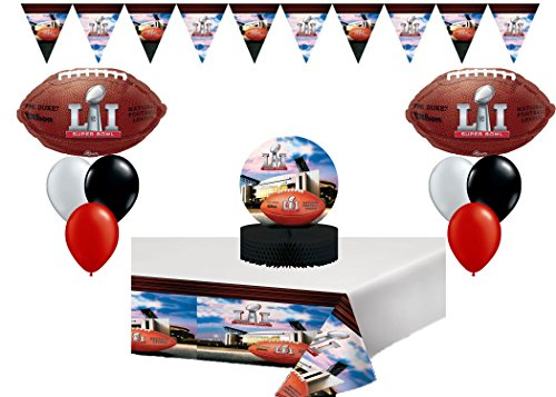 Super Bowl Ultimate Decoration/Party Pack With Balloons , Banner, Table cover, Center piece 2017 Kit