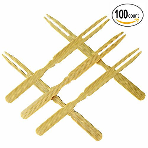 Bamboo Forks, Mini Cocktail Picks, Pastry Fruit Appetizer Dessert Fork for Party, Banquet and Daily Life - 3.9 Inch, Set of 100