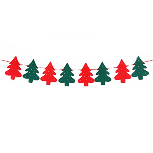 Cosmer DIY Merry Christmas Hanging Bunting Sign Garland Banner String Party Flag Home Office Holiday Decoration Ornament Gift Elk Deer / Tree / Sock / Merry Christmas (Christmas Tree)