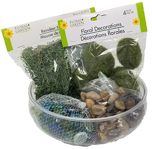 Fairy Garden Starter Kit, Create your Own Fairy Garden Kit Includes Reindeer Moss, Multi Colored Rocks, Stone Colored Rocks, and Floral Decoration Moss bundled with Plastic Bowl