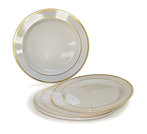 """"""" OCCASIONS """" 40 PACK, Heavyweight Disposable Wedding Party Plastic Plates (7.5'' Salad / Dessert Plate, Ivory / Gold Rim)"""