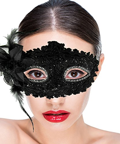Women Costume Masquerade Mask With Flower For Halloween, Mardi Gras, Holiday Parties, School Dance and Balls