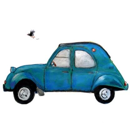 illustratie blauwe Lelijke Eend