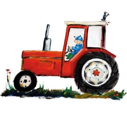 Rode tractor Illustratie van atelier Pjut