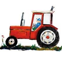 Pjut trekker tractor rood kinderkledin accessoires kinderkamer jongens boerderij