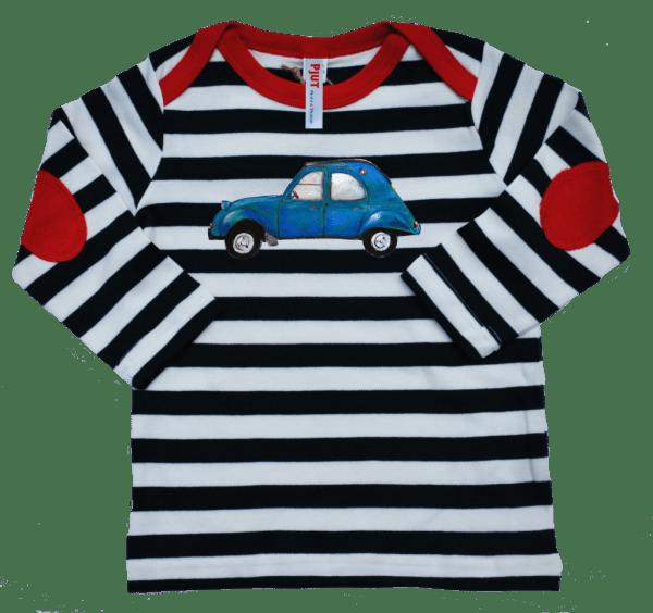 Pjut kinderkleding babykleding kraamcadeau geboorte jongens meisjes kids baby tshirt shirt longsleeve navy gestreept 2CV lelijke eend