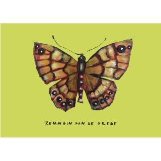 wenskaart van vlinder, insect, argusvlinder, koningin fan de greide van atelier Pjut