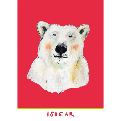 rose kinderkaart van een ijsbeer van 10x15 cm