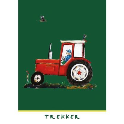 """˚kaart rode trekker uit de serie, 5 Friese kinderkaarten """"Op de boerderij"""""""