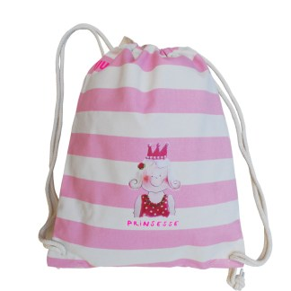 Roze gestreept gymtasje met prinsesje van biokatoen