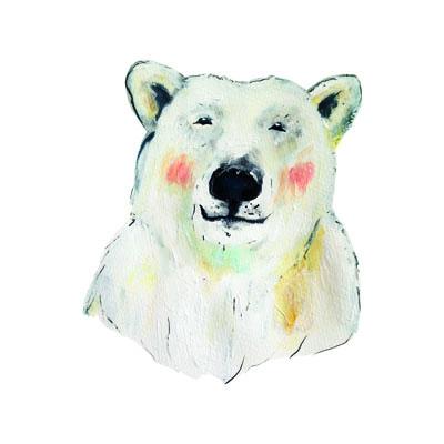 illustratie van ijsbeer (iisbear) uit collectie Oer natoer van Pjut kinderkleding