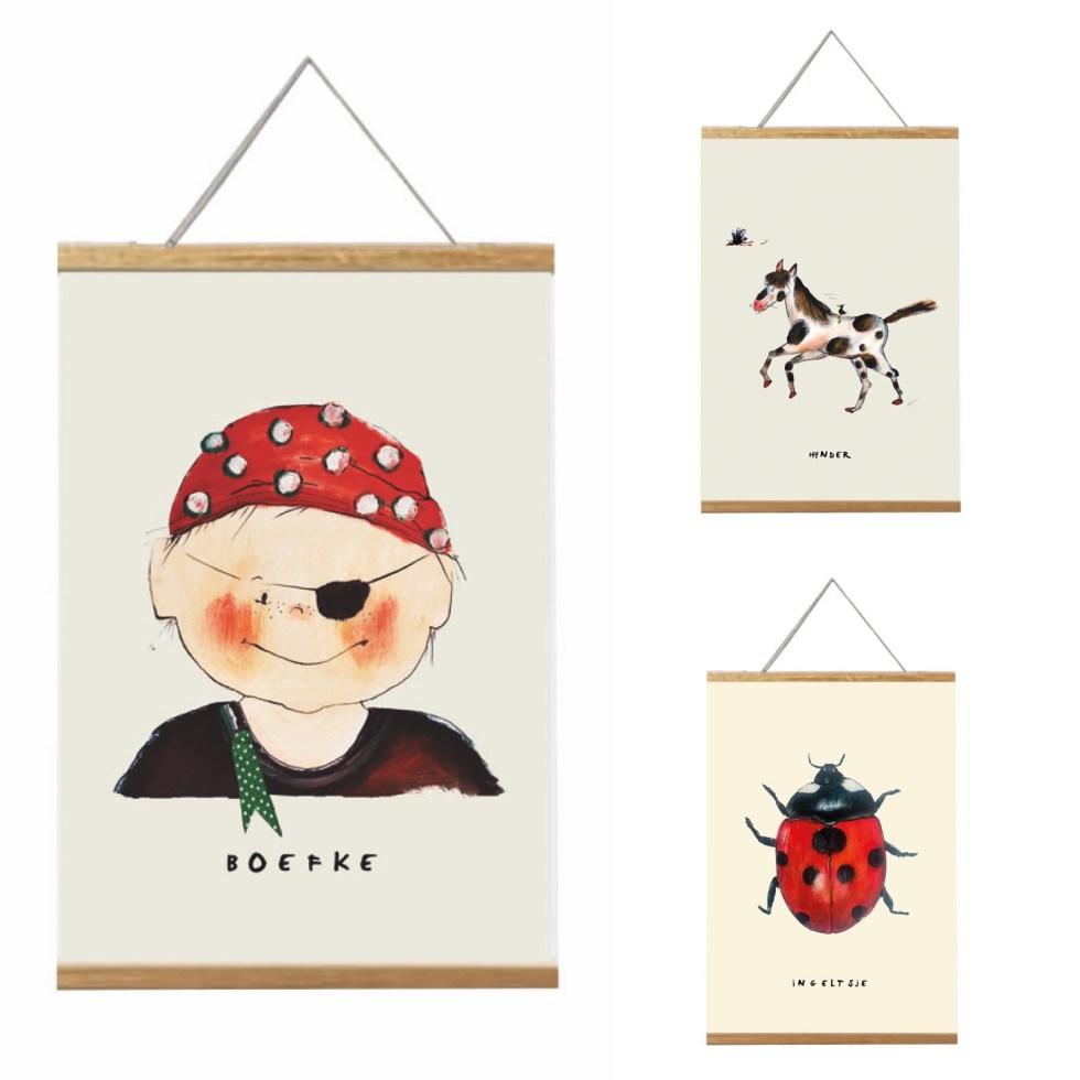 combineer poster voor de kinderkamer. paardje, piraat en lieveheersbeestje