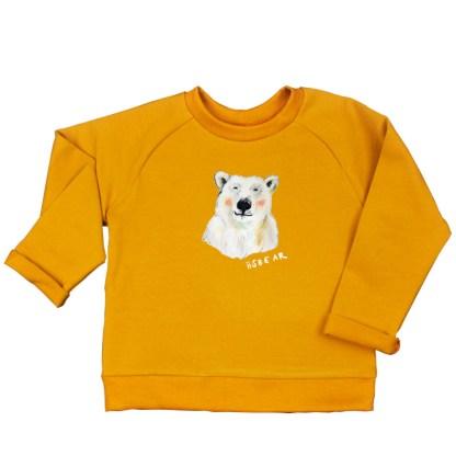warme oker sweater met ijsbeer voor kind. 100% biologisch geteelde katoen.