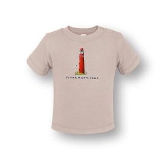 T-shirtje met vuurtoren Schiermonnikoog . In de kleur naturel ecru en gemaakt van biologisch katoen