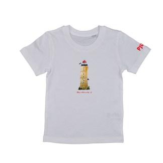 Wit T-shirt Brandaris voor kind van 2, 3,4,5 of 6 jaar. gemaakt van biologisch katoen. De illustratie is van Inge Adema van Atelier Pjut uit Friesland.