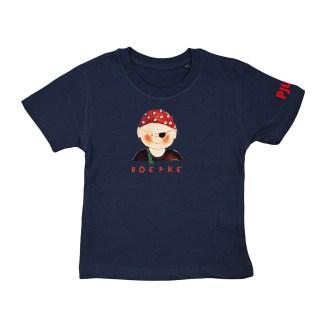T-shirt met piraat in de maten 86/92, 98/104, 110/116 en 122,128. Van biologisch katoen. de Illustratie van het boefje is van Inge Adema van Atelier Pjut uit Leeuwarden.