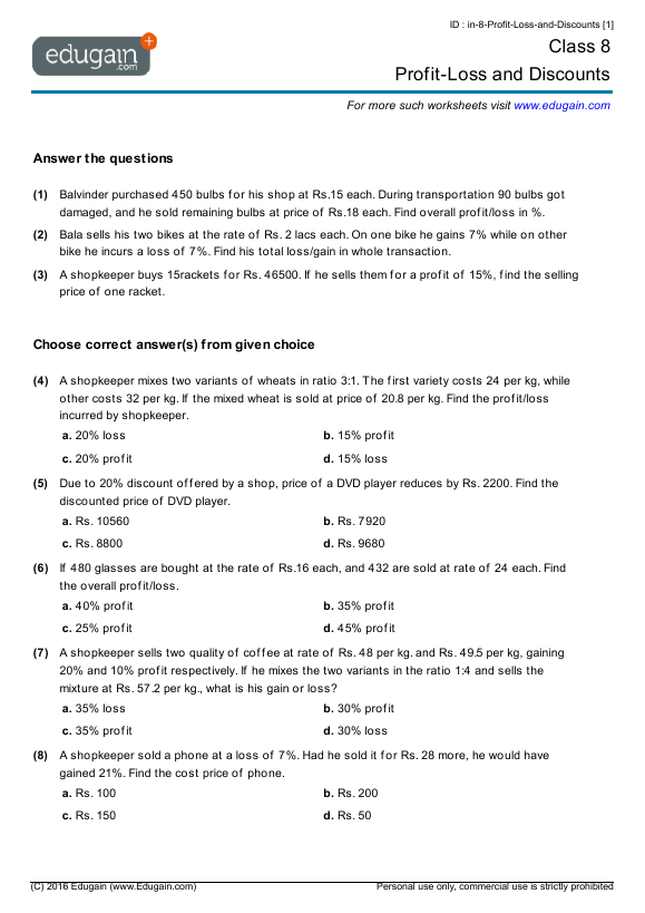 Grade 8 Math Worksheets And Problems Profit Loss And