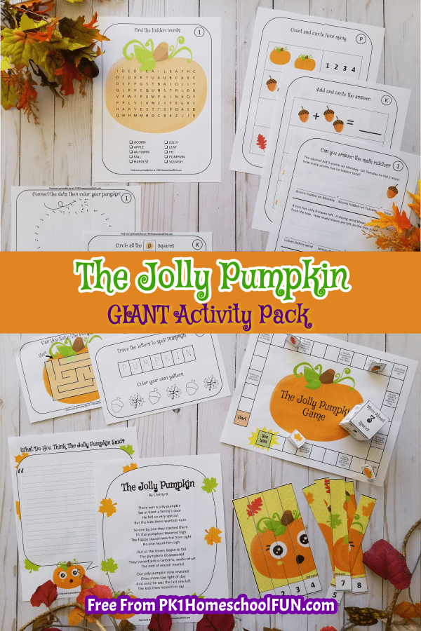 A GIANT activity pack that will get your young ones giggling and brainstorming, download the Jolly Pumpkin FREE printables pack for writing prompts, a board game, dot-to-dots, mazes, puzzles and more. It's 18 pages of fun perfect for preschool, kindergarten and 1st age kids!