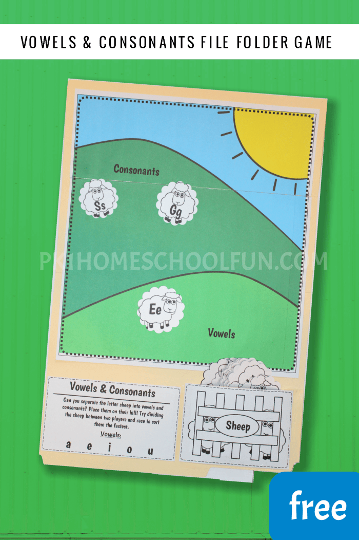 An easy file folder game you can make in just a few minutes to help young kids get familiar with vowels and consonants. Make one up for your homeschool or classroom for a quick educational go-to game.