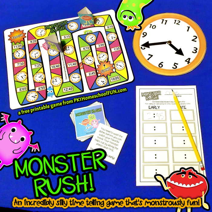This free game about silly monsters is a hilarious way to help kids learn to add and subtract measurements of time!