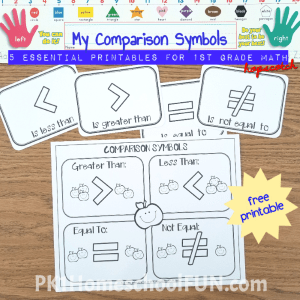 Comparisons symbols printable will be good for introducing greater than and less than. Kids can color the chart and then work with the cards with various manipulatives.