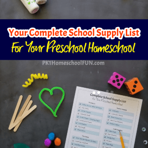 Here's a list of school supplies to stock up on to give you everything you need for a great start to your preschooler's homeschool experience.