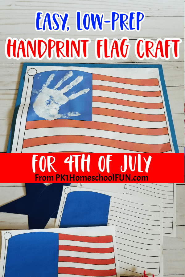 4th of July craft for kids easy low prep handprint flag craft.