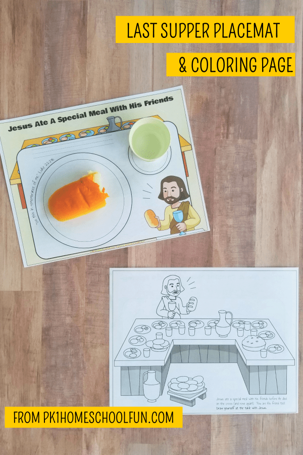 Teach about the last supper and communion with this last supper placemat and coloring page.
