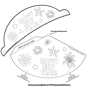 Free New Years Eve Hats To Print and Color