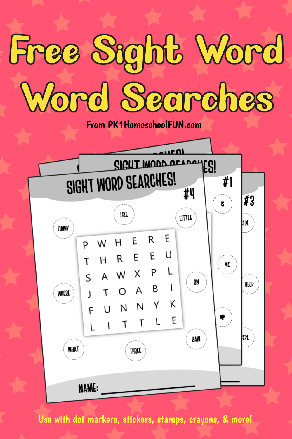 word searches for kids to practice sight words