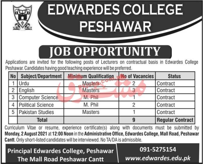 Jobs In Edwardes College Peshawar