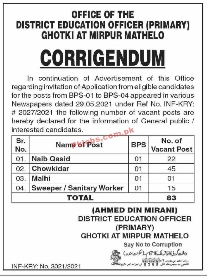 Jobs In District Education Officer Ghotki