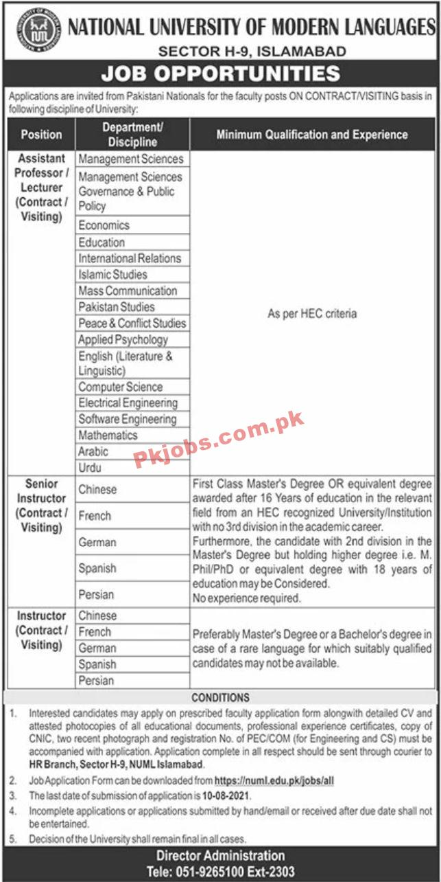 Jobs In Numl National University Of Modern Languages