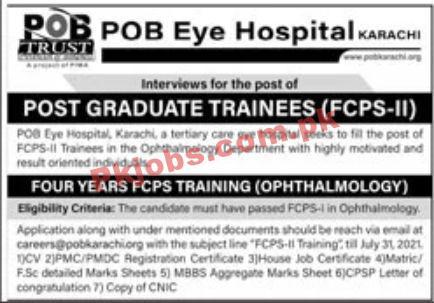Jobs In Pob Eye Hospital Karachi