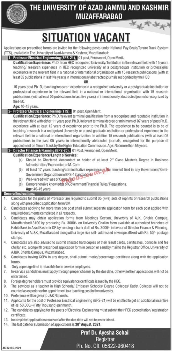 Jobs In The University Of Azad Jammu & Kashmir Muzaffarabad