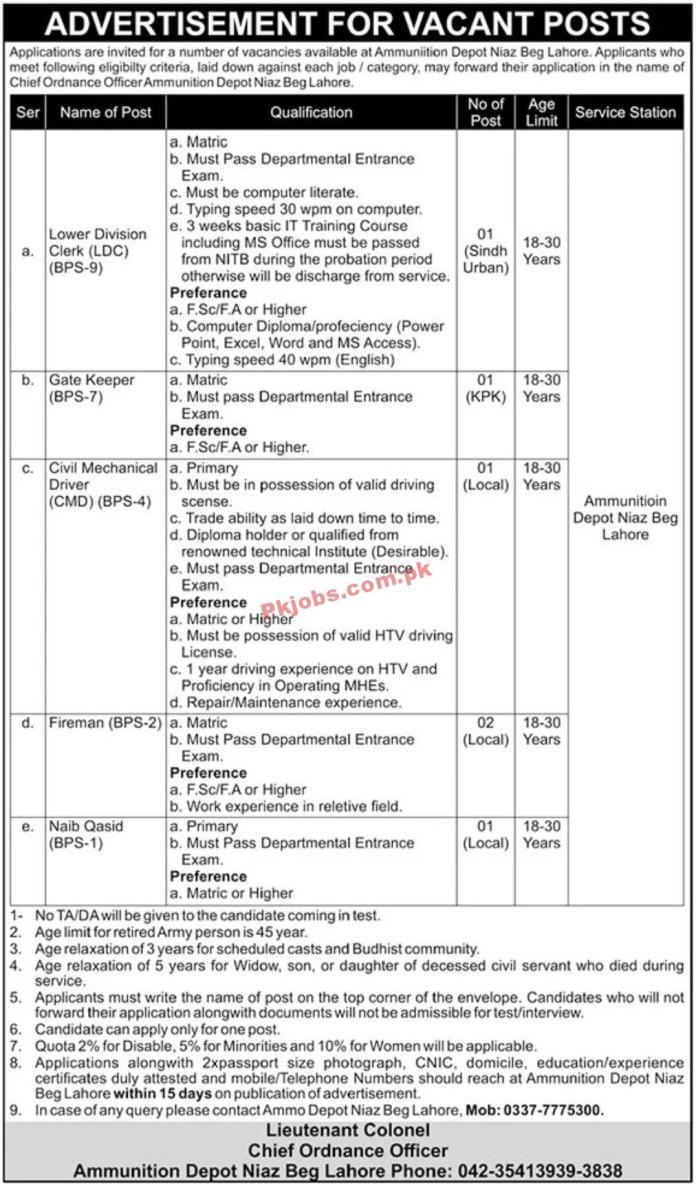 Jobs In Ammunition Depot Lahore