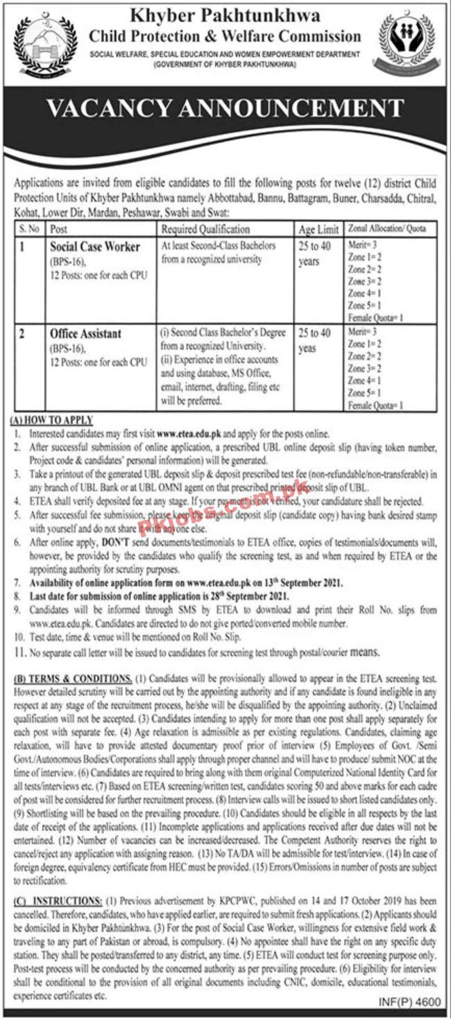 Jobs In Khyber Pakhtunkhwa Child Protection & Welfare Commission