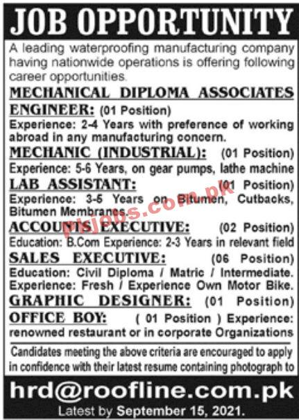 Jobs In Leading Waterproofing Manufacturing Company