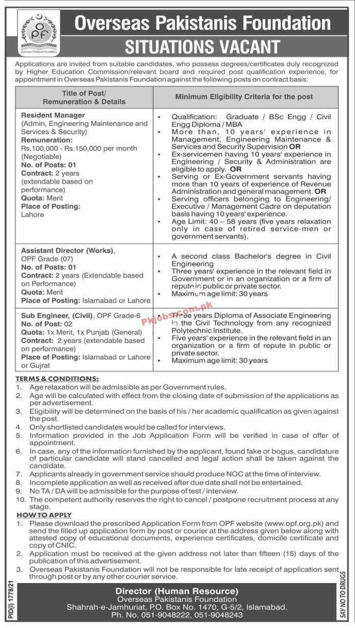 Opf Pk Jobs 2021   Overseas Pakistanis Foundation Announced Management