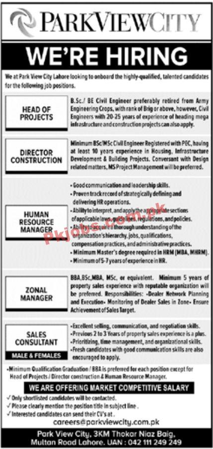 Jobs In Park View City