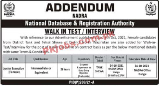 Nadra Pk Jobs 2021 | National Database & Registration Authority