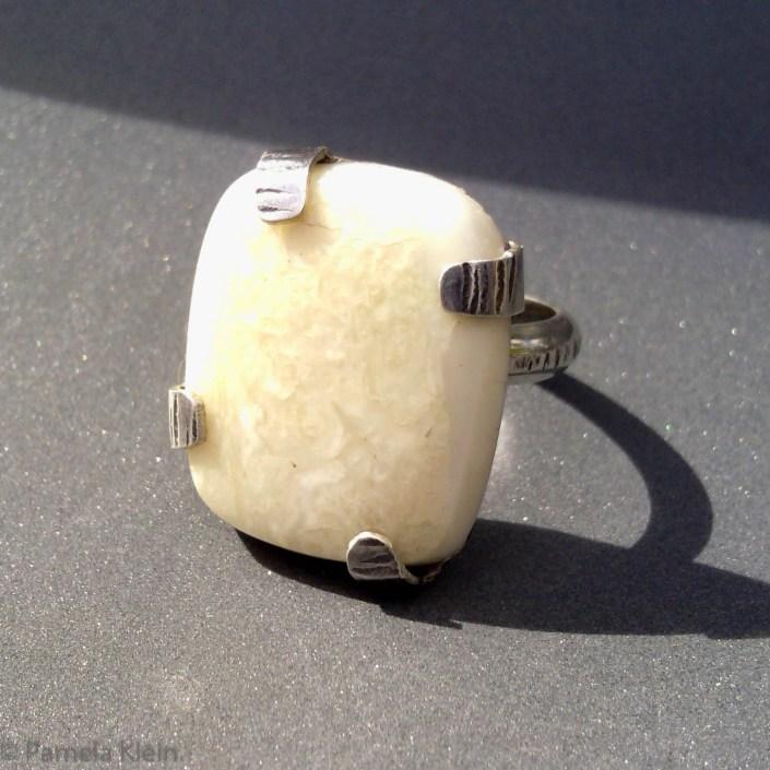 Fossil Ivory Tab Ring