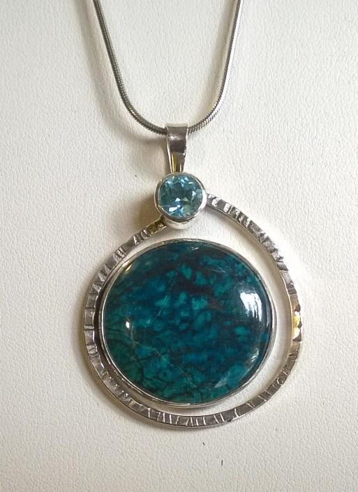Shattuckite Blue Topaz Round Pendant w Textured Ring