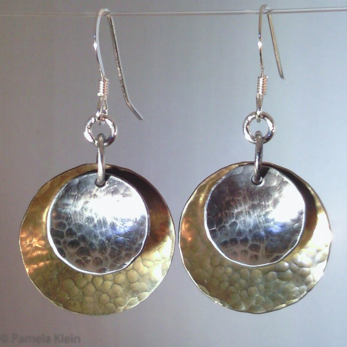 Two Tone Disc Earrings