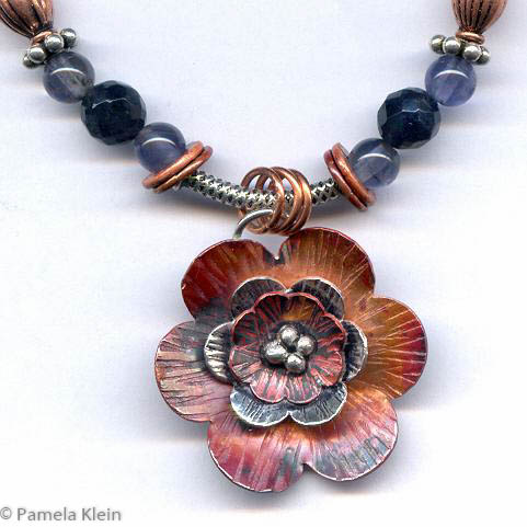 Layered Copper Flower Pendant